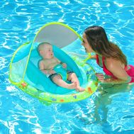 SwimWays Infant Baby Spring Float with Sun Canopy - Green Octopus