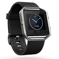 Fitbit Blaze Smart Fitness Watch w/PurePulse Heart Rate, Smart Notifications & Blue Band - (ReCertified) Large (Black)
