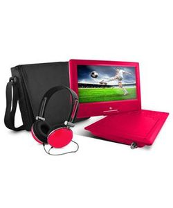 """Ematic EPD919BTP Portable DVD Player - 9"""" Display - Pink"""