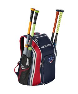 Louisville Slugger Prime Carrying Case (Backpack) Gear, Bat, Baseball - Navy, Scarlet