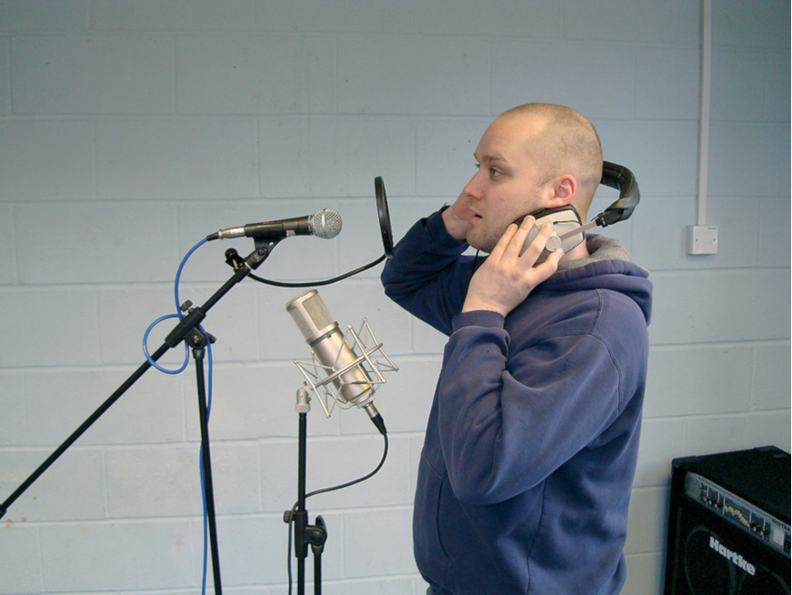 Man recording on microphone